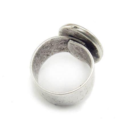 Mm 221 Bm enamel mixed media plated silver adjustable ring w oval 18mm x 13mm bezel