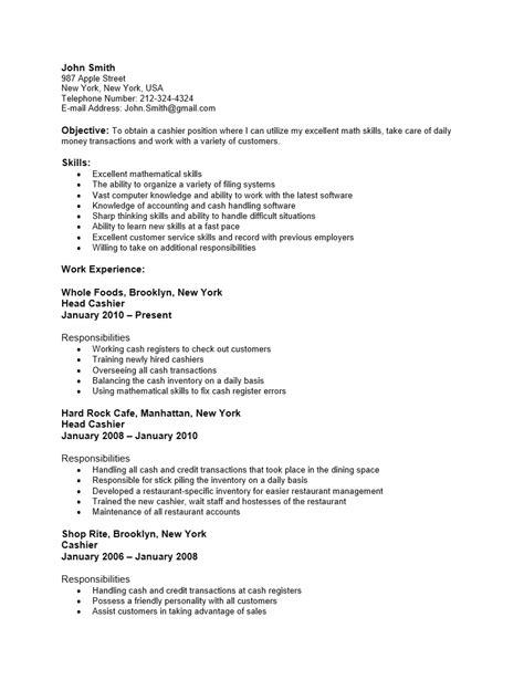 cashier resume sample responsibilities inspirational example cashier