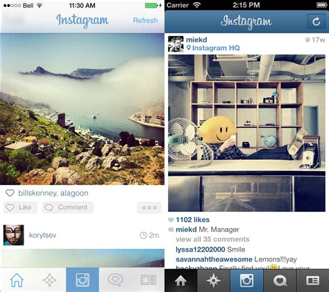 different layout instagram ios 7 app mockups show how some popular apps could look