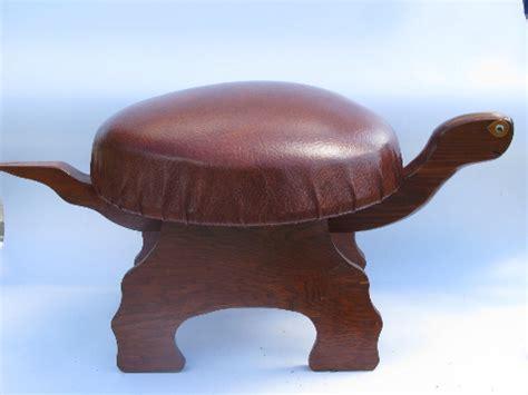 Stop N Go Stool by 70s Hippie Vintage Wood Turtle Footstool Retro Stool Or