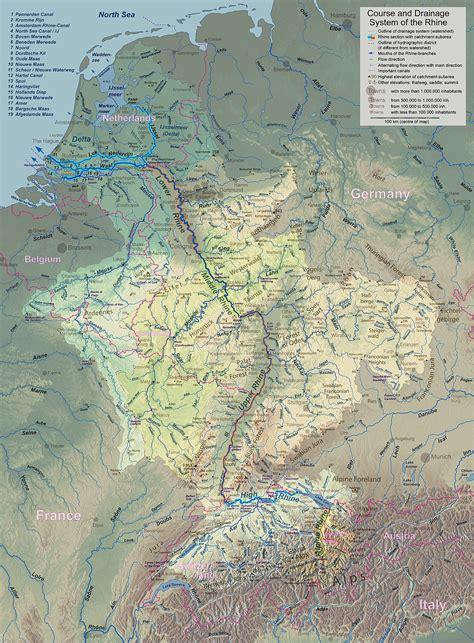 rhine germany map rhine