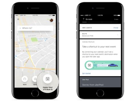 uber android app uber offers calendar shortcuts so that you can get to your events on time