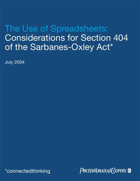 sarbanes oxley act 2002 section 404 pw cwp spreadsheet404 sarbox