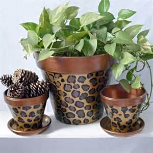 painted leopard animal print plant copper painting pots