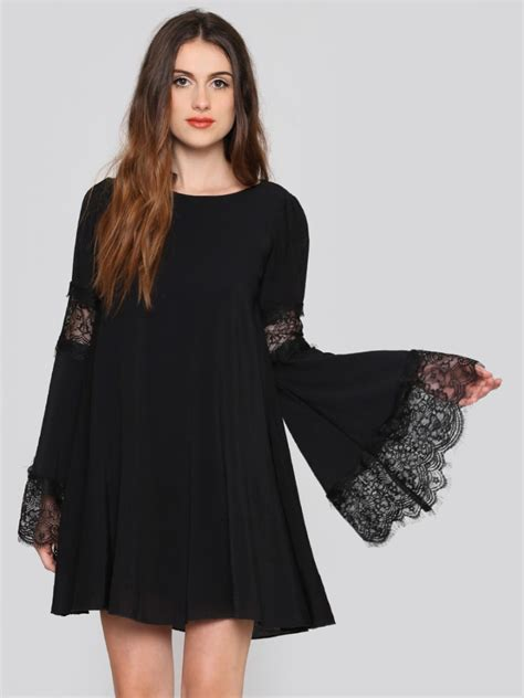 Trumpet Sleeve Dress Black White Size Sml festival bell sleeve dress warrior fashion inspo