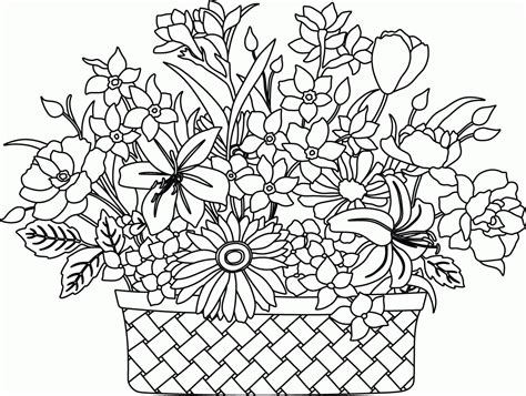 flower to color flower basket coloring page coloring home