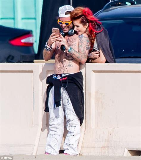 bella thorne and rapper beau mod sun in pdas as she films