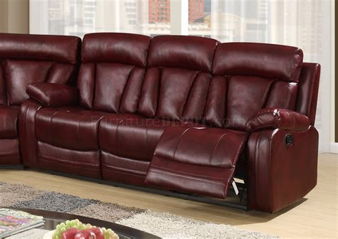 u97601 motion sectional sofa in burgundy pu by global w