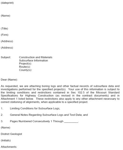 Transmittal Letter Exle For 320 2 Release Of Subsurface Information Engineering Policy Guide