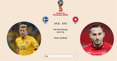mondiali 2018 svezia svizzera chi vincer 224 info data