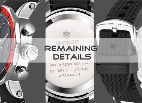 weide jam tangan analog pria dual time zone silicone