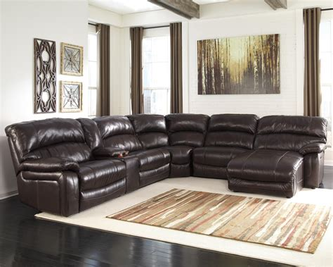 ashley furniture reclining sectional reclining sectional w console right press back chaise