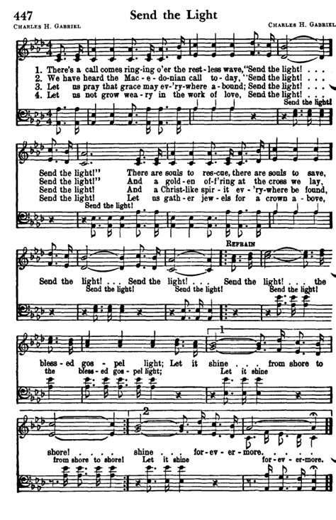 Send The Light Lyrics by Favorite Hymns Of Praise 447 There S A Call Comes Ringing O Er The Restless Wave Hymnary Org