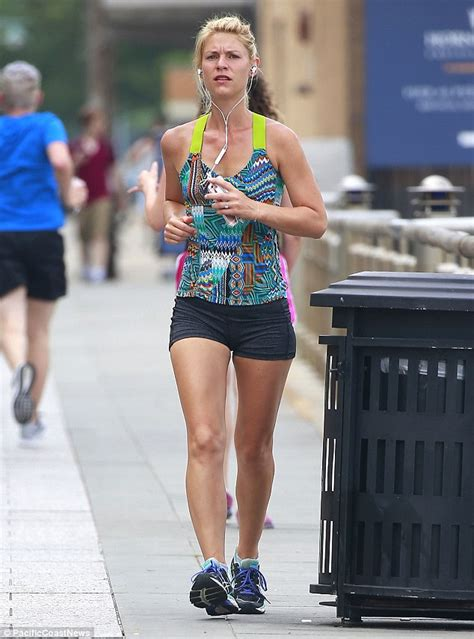 claire danes yellow jumpsuit claire danes goes out for a run after her best actress