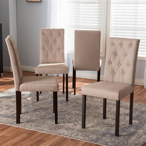 Fabric Upholstered Dining Chairs Baxton Studio Gardner Beige Fabric Upholstered Dining Chairs Set Of 4 4pc 7131 Hd The Home Depot