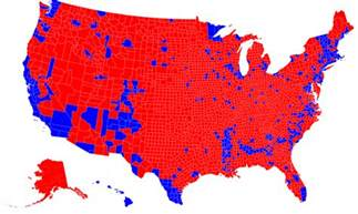 republicans are clustered by county democrats are