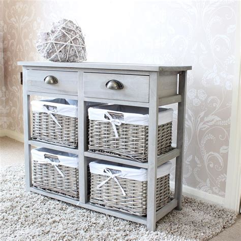 vintage grey wooden wicker basket and drawers storage unit