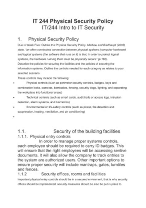 it 244 physical security policy