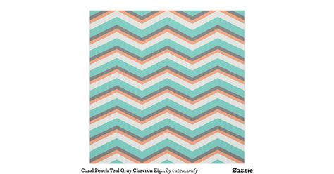 coral pattern zig zag coral peach teal gray chevron zig zag pattern fabric