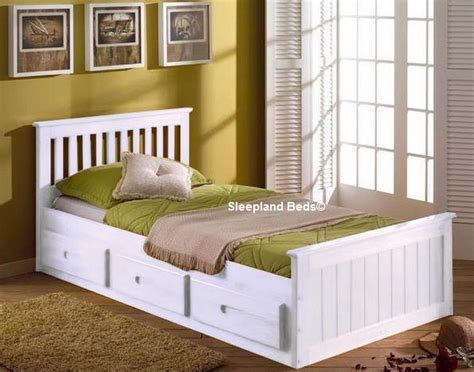 White Wooden Single Headboard by White Single Bed With Storage Sleepland Beds Bedroom Storage White