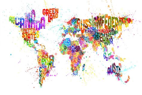 the art of worldly paint splashes text map of the world digital art by michael tompsett