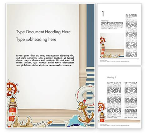 Nautical Theme Word Template 13491 Poweredtemplate Com Themed Word Template