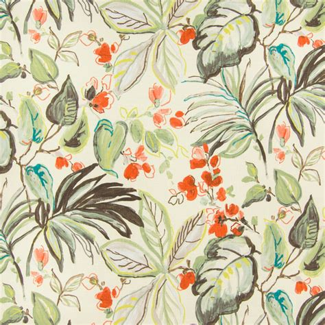 tropical print upholstery fabric sunset green contemporary foliage tropical print