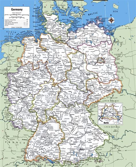 free map of germany large detailed political and administrative map of germany