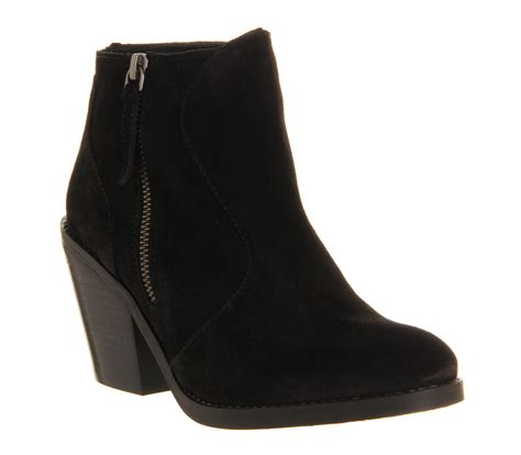 office mission black suede ankle boots