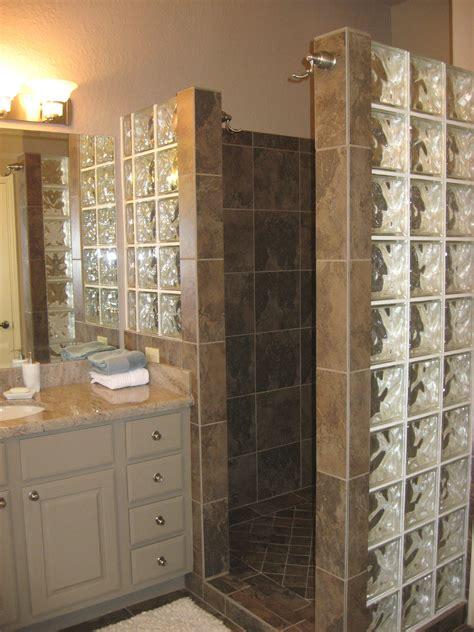 custom walk  shower   door  glass block