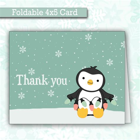 Thank You Cards Christmas Gifts - cute christmas penguin thank you cards winter thank you