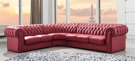 tufted leather sectional sofa divani casa 1 transitional tufted leather