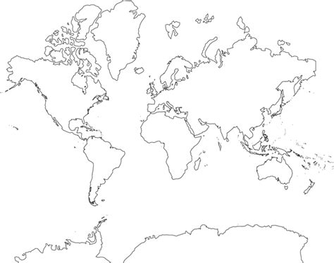 World Map Hd Outline by World Map Mercator Projection With Antarctica No Country Borders