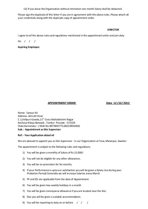 Appointment Letter Not Given Appointment Letter Not Given Format Of Appointment Order Contractor Appointment Letter 6
