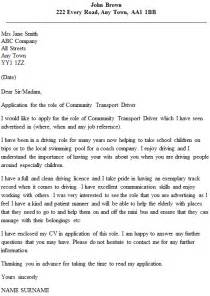 Local Driver Cover Letter by Community Transport Driver Cover Letter Exle Icover Org Uk