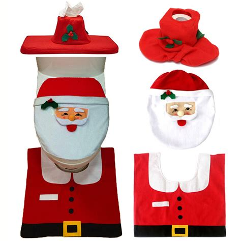 santa toilet seat cover and rug set interior 3pc set decoration happy santa toilet seat cover and rug