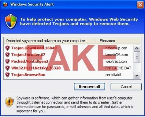 fake windows security alert and online protection scan