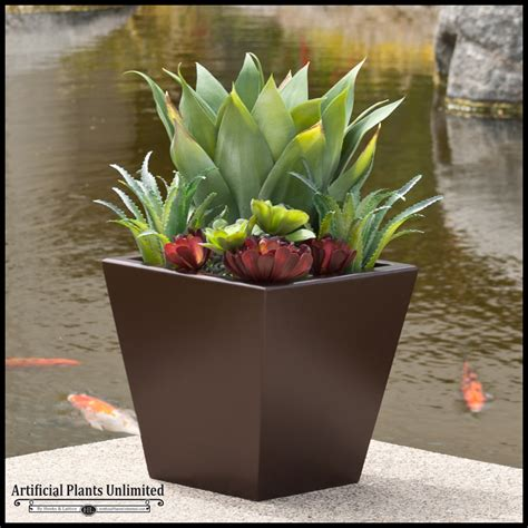cactus planter 24in urban chic planter with artificial agave and