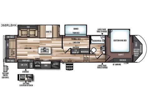 wildwood fifth wheel floor plans wildwood heritage glen 368rlbhk fifth wheel
