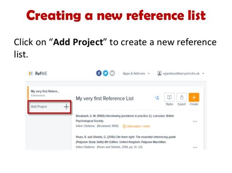 how to use refme to create a reference list