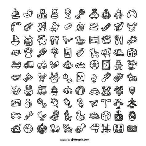 doodle vector free doodle toys icons set vector free