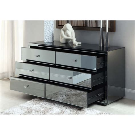 mirrored 6 drawer dressing table vegas smoke mirrored 6 drawer dressing table or low chest