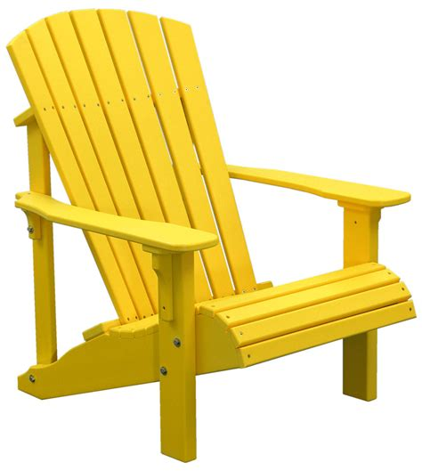 yellow outdoor furniture deluxe adirondack chair shown in yellow outdoor