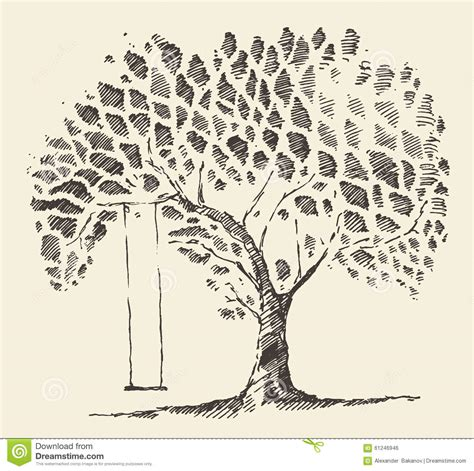 tree with swing drawing romantic illustration tree swing hand drawn sketch stock