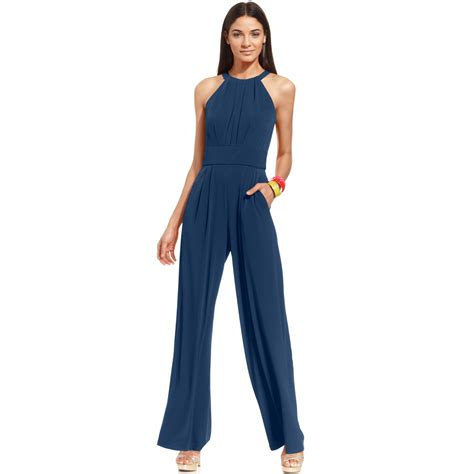 Blue Sleeveless Wide Leg Jumpsuit vince camuto sleeveless keyhole wide leg jumpsuit in blue