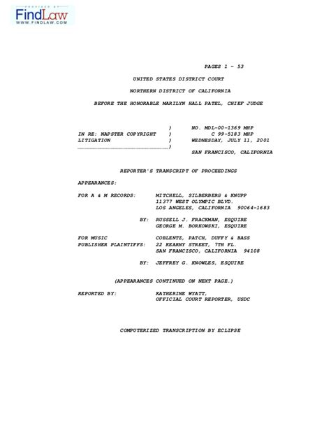 California Court Cases Records Caso Napster 7 Transcript Of The Court Hearing In Fall A M Record
