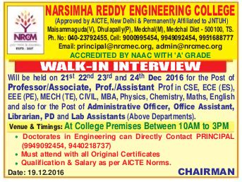 Sakshi Reddy Mba by Narsimha Reddy Engineering College Wanted Professor