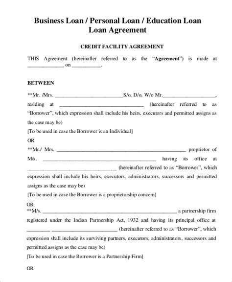 General Loan Agreement Template For Personal Or Business Or Educational Purpose With Sle Unsecured Loan Agreement Template Free