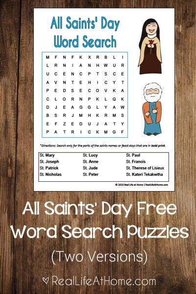 All Search All Saints Day Word Search For Free Printable