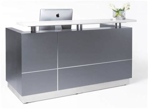 Grey Reception Desk Hugo Reception Desk Front Office Counter 1800mm Metallic Grey White